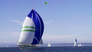 "Martha sailing with ""big blue"" at Transpac"